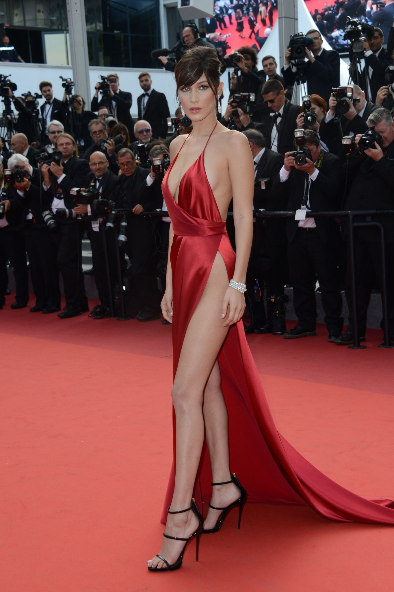 Side breast exposed red carpet
